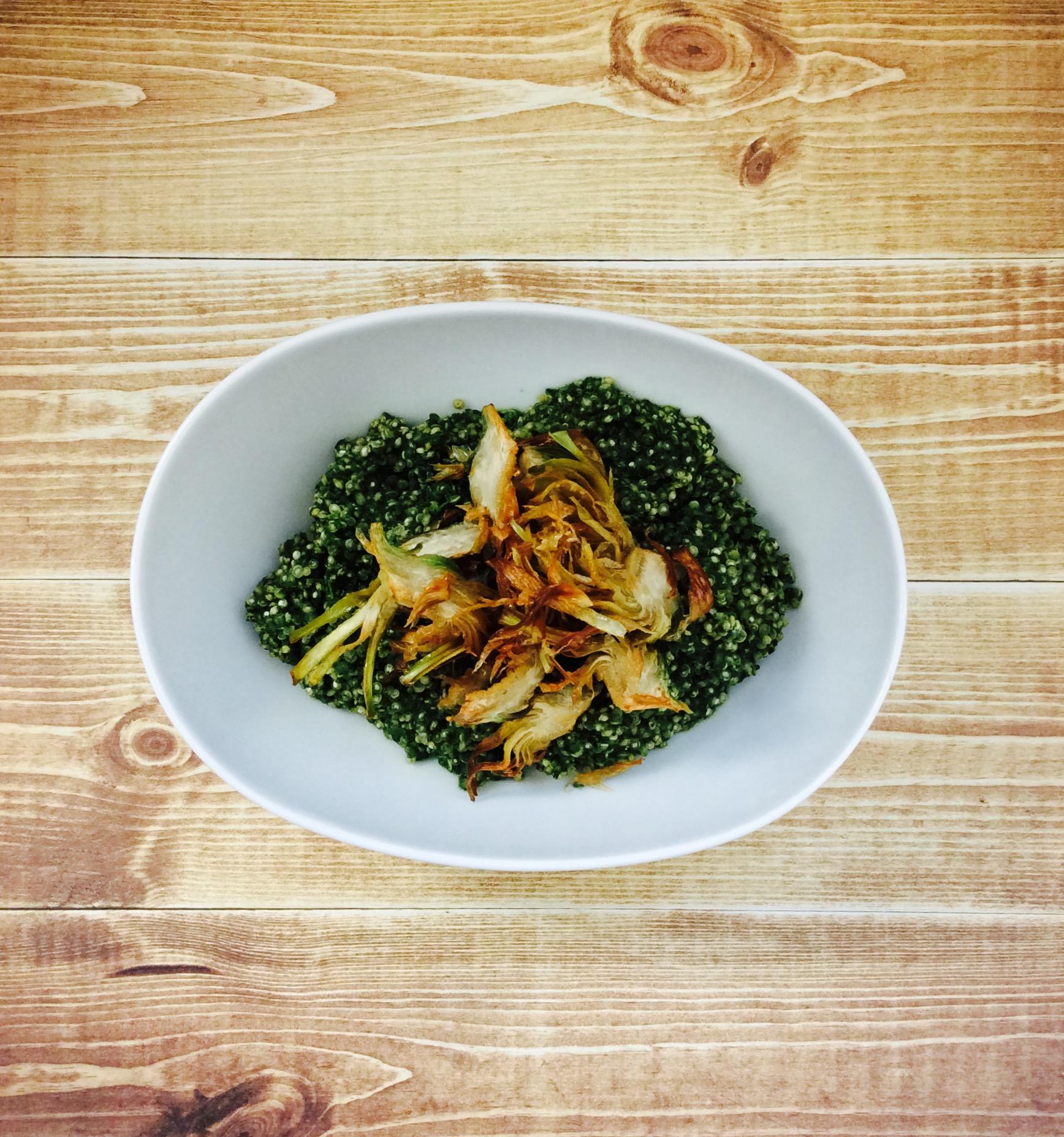 receta-quinoa-espinaca-gorgonzola-alcachofa-ido