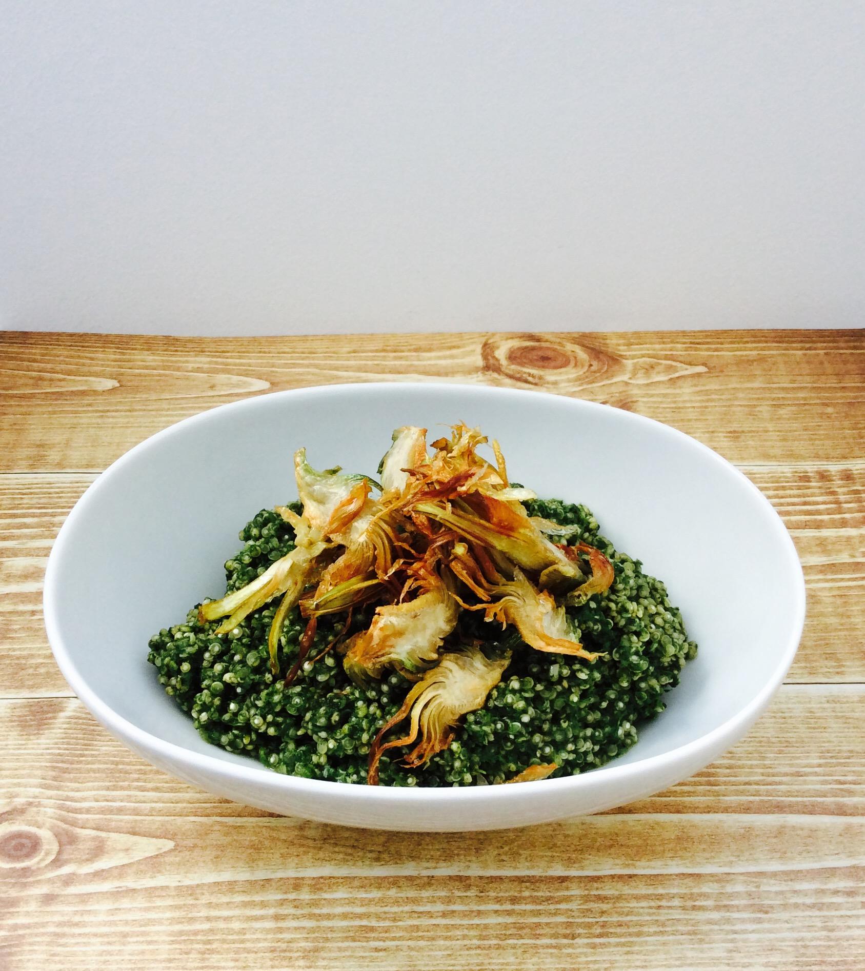 receta-quinoa-espinaca-gorgonzola-alcachofa-ido-1